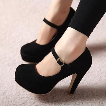 Fashion Round Head Princess High Heels Shoes