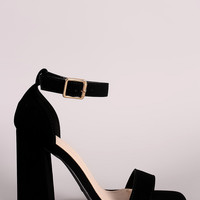 Bamboo Open Toe Single Band Ankle Cuff Chunky Heel