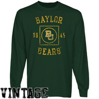 Baylor Bears University Lockup Long Sleeve T-Shirt - Green