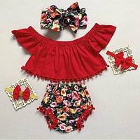 US Sweet Infant Kid Baby Girl Flower Fly-Sleeve Tops Pants Shorts Summer Clothes