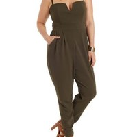 Plus Size Olive Plunging Sweetheart Jumpsuit by Charlotte Russe