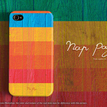 Apple iphone case for iphone iphone 5 iphone 5s iphone 5c iphone 4 iphone 4s  : rainbow stripe pattern wood (not real wood)