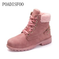 POADISFOO 2017 women's Boots Square heel Ankle Boots Lace-Up Round Toe Big size Martin boots rivet women shoes .JGG-781
