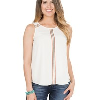 Wrangler Women's White with Maroon, Turquoise, and Red Embroidery Sleeveless Fashion Top