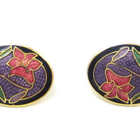 Vintage Black Purple Clip Cloisonne Earrings Blue Pink Floral Gold Tone Flower Metal Vintage Jewelry Enamel Chinese Asian Small Earrings
