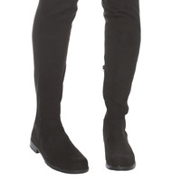 Elastic Stretchy Over The Knee Black Suede Boots