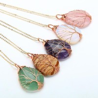 Natural Quartz Opal Stone Necklace Handmade Rose Gold Color Tree of Life Wrapped