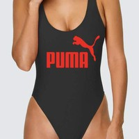 PUMA Swimming Women's Sexy Vest Type Bikini Swimsuit   Black