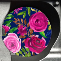 Navy and Pink Florals Car Coaster