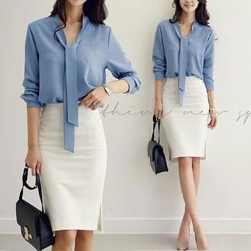 Solid Color Executive Blouse