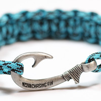 Cobra Braid Fish Hook Bracelet (Turquoise Camo)