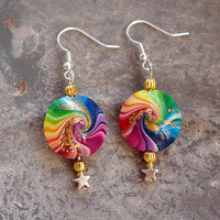 Rainbow Swirl Earrings / Bead Drop Earrings / Elegant / Star / Womens Earrings /  For Her / Dangle / Hipster Earrings / Womens Gift / Boho
