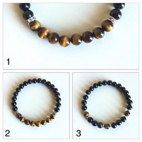 Focus, Protection and Grounding ~ Genuine Tiger's Eye & Black Onyx Bracelets  ~ 6mm Beads ~ Choose from 3 Styles