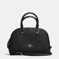 New COACH F57555 Mini Sierra Dome Satchel Handbag Purse Shoulde Bag Black Leather