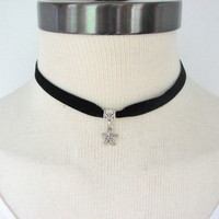 Black Velvet Choker Necklace with Silver Starfish Charm