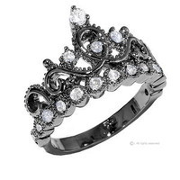 Sterling Silver Crown Ring / Princess Ring (Black Rhodium Plated) - Sears