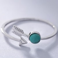 Shyla 925 Sterling Silver and Turquoise Arrow Ring