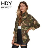 Women camouflage Print Jacket With Zipper Closure