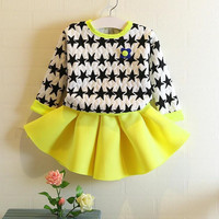 EMS/DHL/FEDEX/UPS Free Fast Shipping 2015 Spring Autumn New Girls Sets Girls Long-sleeved Stars Sweaters+Skirt 2 Piece Clothing Sets.