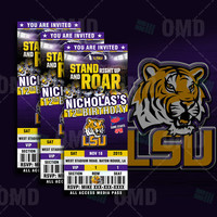 LSU Tigers Sports Party Invitation, Sports Tickets Invites, Louisiana State Football Birthday Theme Party Template