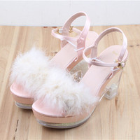 Soft Sister Plush Crystal Sandals Free shipping from HIMI'Store