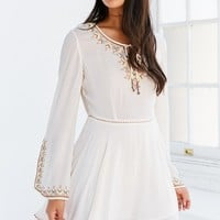 Ecote Holly Embroidered Bell-Sleeve Mini Dress