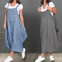 ZANZEA Summer Women Strappy Pockets Striped Dress Loose Casual Overalls Dress Ladies Party Sundress Femme Sarafans Suspenders