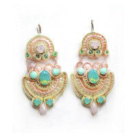 I'M IN HEAVEN deco bridal soutache earrings with Swarovski elements in rose water opal and pacific opal