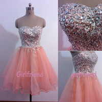 Amazing a-line pink tulle handmade short prom dress, bridesmaid dress, homecoming dress