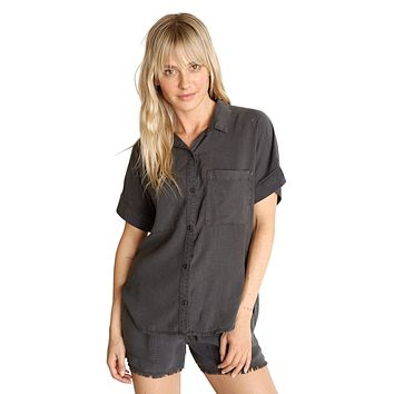 Rolled Short Sleeve Button Down Smoke Pearl
