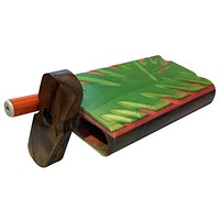 "4"" Carved Wood Swivel Cap Dugout - Green/Pink"