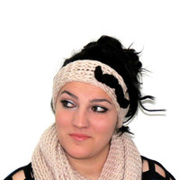 Knotted i Headband Knitted Mustache Ear Warmer Vanilla Black. Winter Warm. Head Dress, Winter Fashion, Hair Bands Hair Coverings for Women