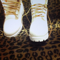 Custom White Timberlands