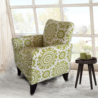 Green Floral Accent Chair with Birch Wood Legs (Single)