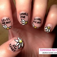 Love me love me not fake nails by CompulsiveNails on Etsy