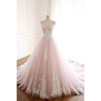 Pink Straps Sweetheart Prom Dress Ruffled Applique Open Back Formal Dresses