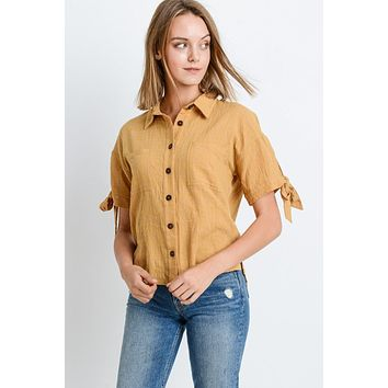 Short Sleeve Button Up Top With Tie Sleeve