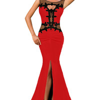 Lace Appliqued Mesh Cutout Metallic Red Party Gown