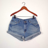 Plus Size High Waisted Denim Shorts - Vintage High Waist Jean Shorts - Size 34 or US Womens 14/16