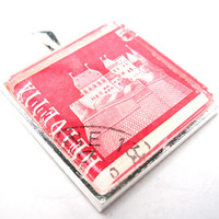 Postage Stamp Pendant of Village from Vintage, in Glass Tile Square