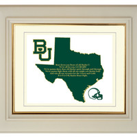 Baylor Bears Texas State Map College Football Fight Song Art Print Gift Home Decor Wall Art 8 x 10