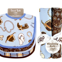 Bouquet Set - Cowboy Baby - Bib & Burp Cloth