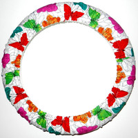 Butterflies Steering Wheel Cover, Made in USA, Cute Girly Cotton Car Wheel Cover, Personalized Gift