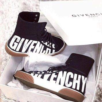 "Hot Sale ""Givenchy"" Fashionable Popular High Top Flat Shoes Sneakers Black I13089-1"