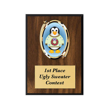 Ugly Christmas Sweater, Award, Christmas Sweater Award, Ugly Sweater Party, Penguin Plaque, Christmas Award, Ugly Sweater Contest