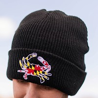 Embroidered Maryland Full Flag Crab (Black) / Slouchy Knit Beanie Cap