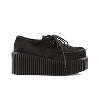 Demonia Black Suede Gothic Rave Creeper Shoes