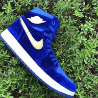 Air Jordan 1 Retro High Blue Purple Black Velvet AJ1 Sneakers - Best Deal Online