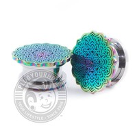 Rainbow Tribal Flower Threaded Steel Plugs