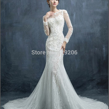 Vogue Young See Through Lace Decoration Mermaid wedding dress 2016 hot sale sweetangel Illusion Scoop Long Sleeve Applique Satin